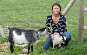vet students with goats