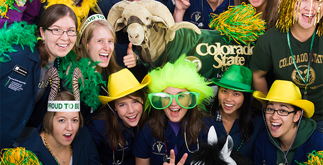 Veterinary students at Colorado State University laughing