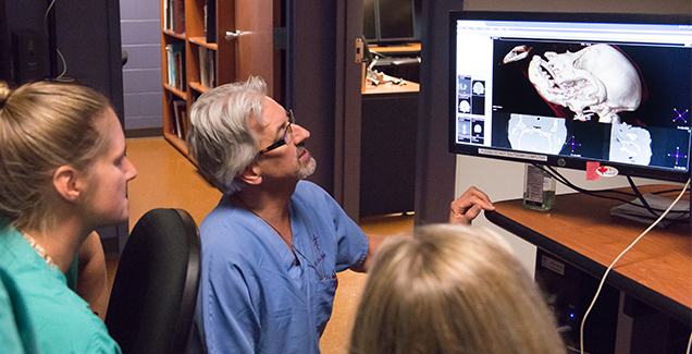Drs. Palmer and Rawlinson review a CT Scan