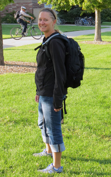 Ashleigh, a study participant, wearing the monitoring backpack