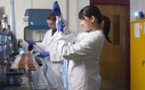 Graduate students working in gas chromotography lab