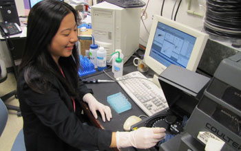 Janna Yoshimoto works in the clinical immunology laboratory